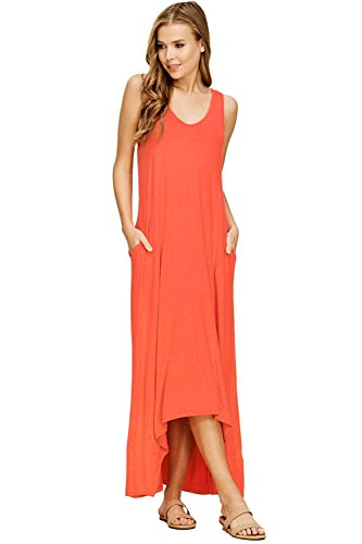 Mari Cias Women's Pocket Maxi-Dress Sleeveless Extra Long T-Shirt Shift Dresses (Orange, - Long Shift Dress