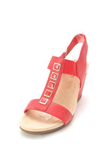 St. John's Bay Womens Landings Open Toe Casual Ankle, Lobster Red, Size 8.5 from St. John's Bay