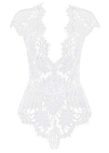 (Women Lingerie V Neck Lace Teddy Bodysuit Mini Babydoll Features Plunging Eyelash (Large, Z-White))