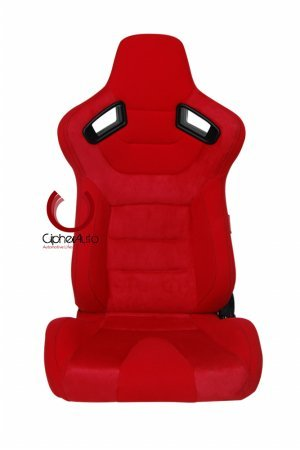 Cipher Auto AR-9 Revo Racing Seats -Red Suede & Fabric w/ Carbon Fiber - Pair ()