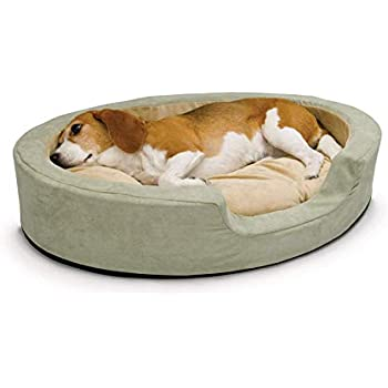 K&H PET PRODUCTS Thermo-Snuggly Sleeper Heated Pet Bed Sage Medium 26 x 20 x 5