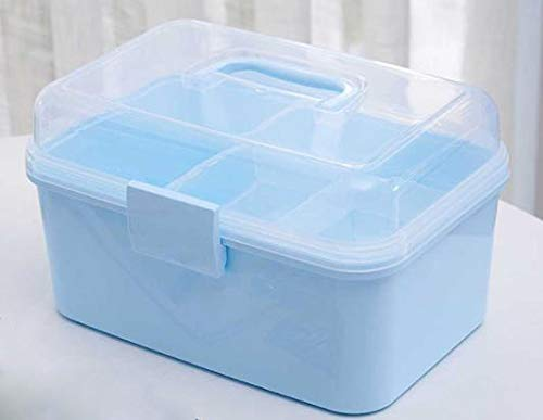 312 Rectangular Multifunctional Plastic Transparent Compartment Storage Box Portable Cosmetic Box Household Medicine Box (Color : C)