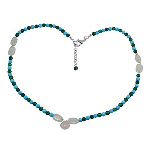 Silvestoo Jaipur Jewelry Girl's 925 Silver Plated Chalcedony, Turquoise & Malachite Necklace PG-131154