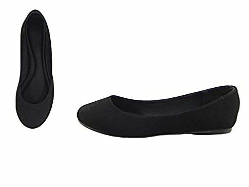 Angie Pointy Toe Marie Suede 53 On Ballet Bella NB Slip Black Women's Classic Flats 5AqnU