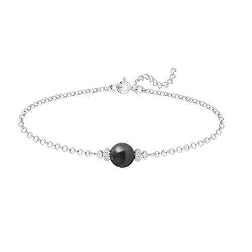 Bracelet Argent 925 Perle Nacrée 8mm Swarovski Element - Jet (noir)
