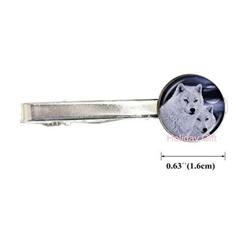 Howling Wolf Tie Clip Wolves Jewelry Full Moon Behind Mountain Photo Tie Pin Glass Cabochon Long Chain Animal Statement Tie Clip,H177 (S1)
