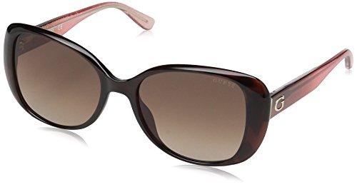 GUESS Women's Gu7554 Square Sunglasses, dark havana & gradient brown, 54 ()