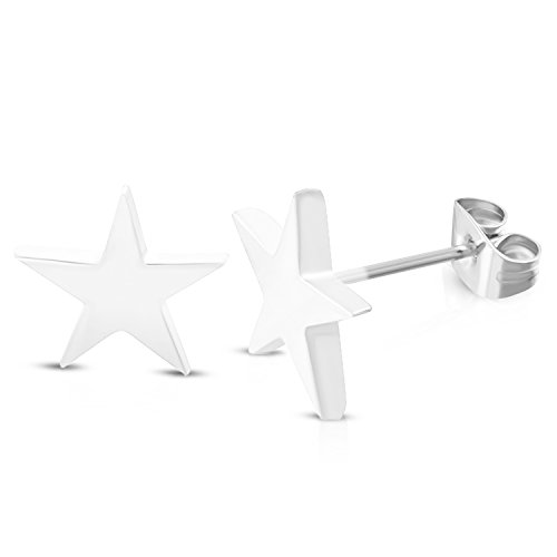 (10 MM White Color Stainless Steel Shining Shooting Star Stud Post Earrings)