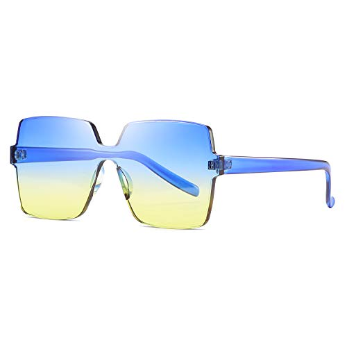 acecfa432a Oversized Square Candy Colors Transparent Lens Rimless Frame Unisex  Sunglasses