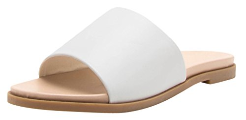 Cambridge Utvalda Womens Öppen Tå Enda Band Slip-on Flat Slide Sandal Vit Pu