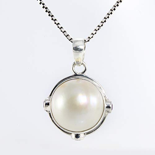 - Bali carving handmade 925 sterling silver pearl pendant and 15 mm mabe cultured pearl and genuine 3 * 3 mm amethyst gemstone, beautiful round-shaped white mabe pearl pendant, 8 mm drop length