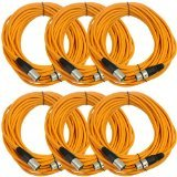 SEISMIC AUDIO - SAXLX-50 - 6 Pack of 50' Orange XLR Male to XLR Female Microphone Cables - Balanced - 50 Foot Patch Cords