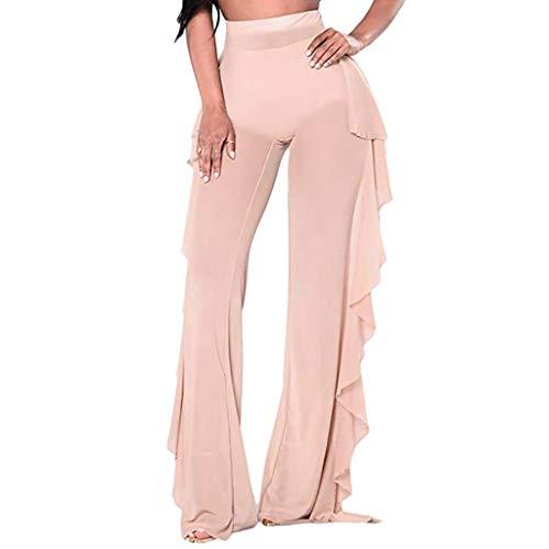[해외]여성용 시스러그 메시 플레어 커버 업 팬츠 커버 업 탄성 하이 웨이스트 와이드 레그 슬림 핏 바지 / Women See Throug Mesh Flare Cover up Pants Cover up Elastic High Waist Wide Leg Slim Fit Trouser (Beige, XL)