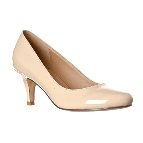 - Riverberry Women's Ruby Round Toe, Kitten Low Height Pump Heels, Nude Patent, 7