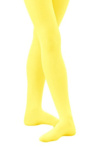 Banner Bonnie Girls' Opaque Microfiber Dance Stockings School Uniform Footed Tights (10-12, Yellow) (Yellow Girls Tights)