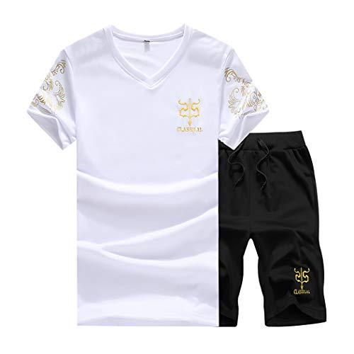 (xzbailisha Mens Summer 2 Piece Outfits Solid Color Round Neck Short Sleeve Shirt and Shorts Set Sportswear Tracksuit White )