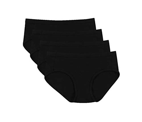 Hanes Ultimate Women's Cotton Stretch Cool Comfort 4-Pack Hipster Panties, Black, 9