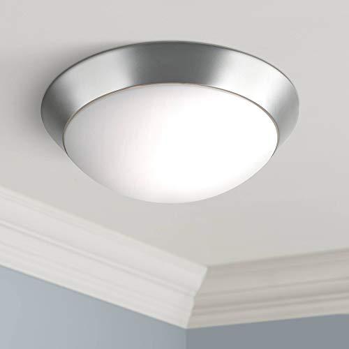 "Davis Modern Ceiling Light Flush Mount Fixture Brushed Nickel 13"" Wide Frosted Glass Dome for Bedroom Kitchen Living Room Hallway Bathroom - 360 Lighting"