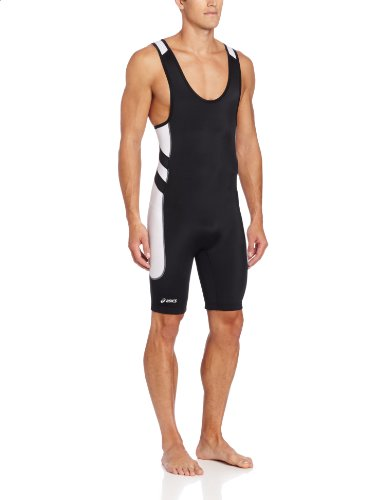 ASICS Men's Unrestrained Wrestling Singlet (Black/White), 3X-Small