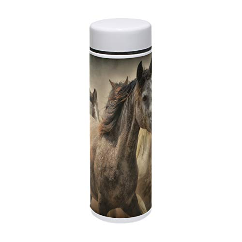 - Running Horses Group Thermos Water Bottle 7.5 oz Stainless Steel Wide Mouth Traveler Cup Keeps Cold Hot for 12 Hours