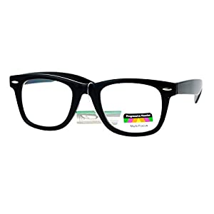 Multi Focus Progressive Reading Glasses 3 Powers in 1 Reader Square Horn Rim (black, 3)