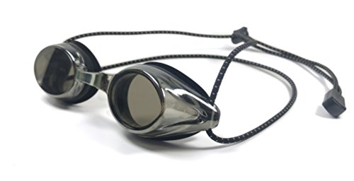 Resurge Sports Anti Fog Racing Swimming Goggles with Quick Adjust Bungee Strap (Black Mirrored)