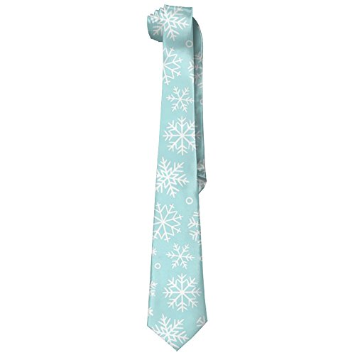 (Christmas Beautiful Snowflake Sky Blue Men's Silk Wide Ties/Necktie Skinny Tie )