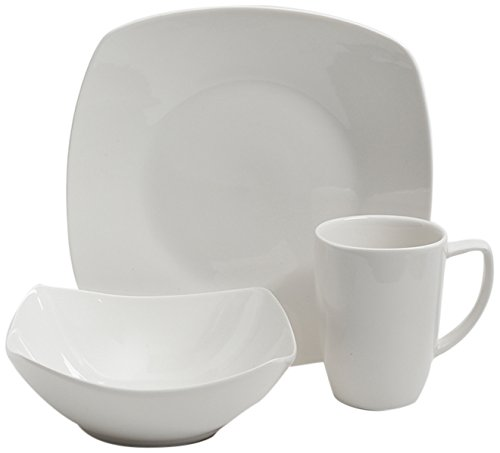 Gibson Home Zen Buffetware 12 Piece Dinnerware Set Service for 4, Square, - Set Dinner Service