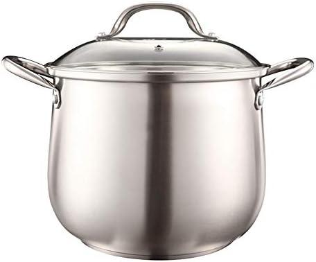 蒸気鍋 炊飯器蒸し器に適したすべての調理ステーション用の大容量マルチエネルギーと超熱いスープのステンレススチールドラムマシン (Color : Silver, Size : 24cm)