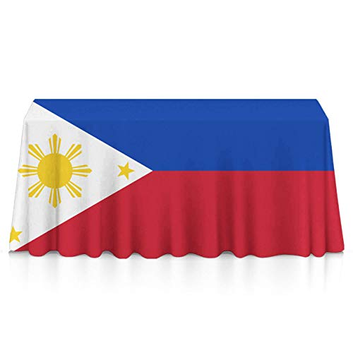GOAEACH Table Cloth, Dust-Proof Stain Resistant Tablecovers, Square/Rectangular Flag of The Philippines Machine Washable Table Toppers for Outdoor Party, Glam Wedding Decor ()