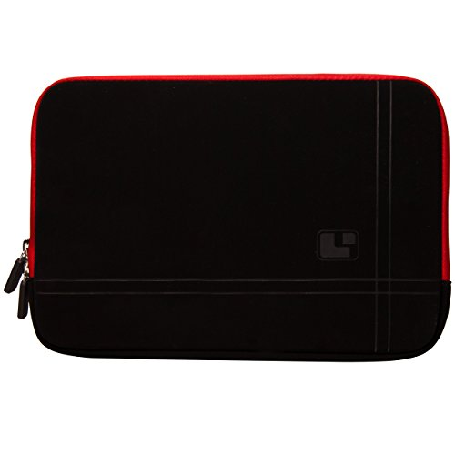 """Red Trim SumacLife Microsuede Scratch Resistant Laptop Sleeve with Neoprene Bubble Padded Interior for 13.3"""" Apple MacBook Pro 13.3 inch Apple Macbook Air + SumacLife TM Wisdom Courage Wristband"""