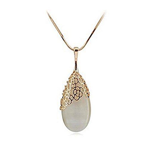 U-beauty New Ladies Water Drop Shaped Pendant Golden Long Necklace Sweater - Necklace Long Pendant Chain