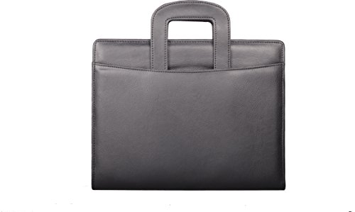 COI BLACK LEATHERITE BRIEFCASE CONFERENCE FOLDER / DOCUMENT FOLDER WITH CALCULATOR , PEN AND WR