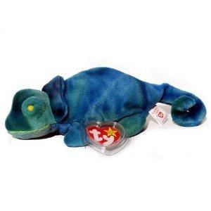 Ty Beanie Babies - Iggy The Ty-Dye Iguana - Rainbow Tags - Baby Beanie Ty Dye