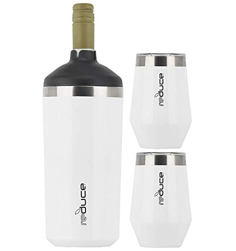 Reduce Wine Cooler Set – Stainless Steel Wine Bottle Cooler Set with 2 12oz Insulated Wine Tumblers – Keep Wine at the Perfect Temperature, No Ice Required, Fits Most Wine Bottles – White