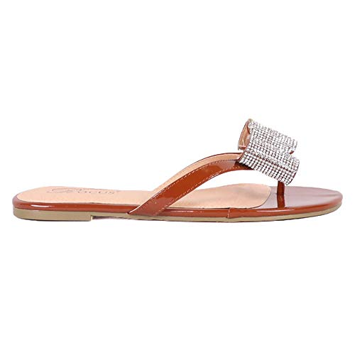 (Rocus Women's Rhinestone Bow Detail Slip On Sandals (8 (M) US, Tan))