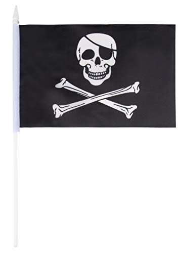 Juvale Pirate Stick Flags - 72-Piece Hand-Held Black Jolly Roger Skull and Crossbones Flags on Stick with Spearhead Tip, 5.5 x 7.8 Inches ()