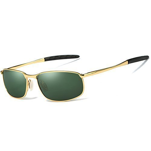 FEIDU Sport Polarized Sunglasses for Men Stylish HD Lens Metal Frame Men's Sunglasses FD 9005 (Green/Gold, 2.24)