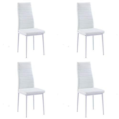 SICOTAS Modern Kitchen Chairs Set of 4,Dining Chairs with Faux Leather Padded Seat High Back and Metal Legs (4 White Chairs Only)