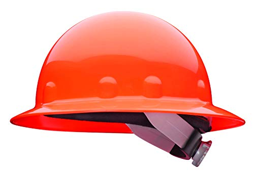 Fibre-Metal by Honeywell SuperEight Thermoplastic Full Brim Hard Hat with 8-Point Ratchet Suspension, Hi-Viz Strong Orange