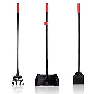 PAWCHIE Pet Poop Tray and Rake - Large Dog Pooper Scooper with Spade - 1 Metal Tray and 2 Rakes Set - 37.4 Inches Long Handle for Waste Removal 1