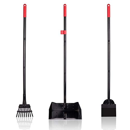 PAWCHIE Pet Poop Tray and Rake - Large Dog Pooper Scooper with Spade - 1 Metal Tray and 2 Rakes Set - 37.4 Inches Long Handle for Waste Removal