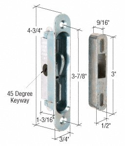 CRL 3/4'' Wide Mortise Lock and Keeper With 3-7/8'' Screw Holes for Pennco Doors - E2079