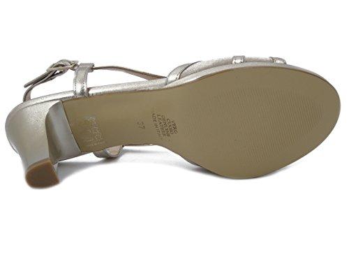 Osvaldo Pericoli Sandalo elegante in pelle beige/platino, tacco 7cm. e plateau-7893 e17