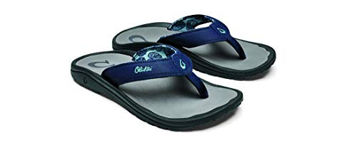 OLUKAI Men's Ohana Sandals, Deepest Depths/Charcoal (2D26), 9