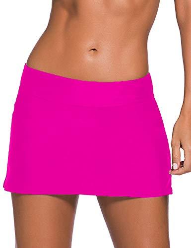 (Women Sexy Pure Color Waistband Skirt Bikini Bottom Rose Red Large)