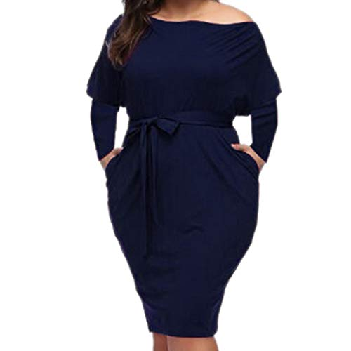 Toimothcn Women Plus Size Belt Dress Solid Long Sleeve Slashneck Knee-Length Bodycon Party ()