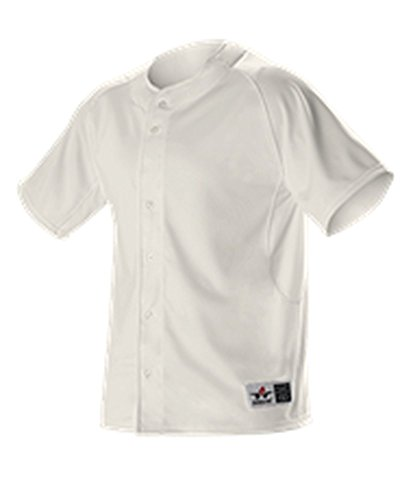 (Alleson YOUTH WARP KNIT FULL BUTTON FRONT BASEBALL JERSEY VINTAGE WHITE XL PWRPJY PWRPJY-VW-XL)