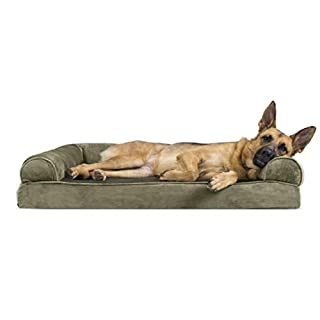 Furhaven Pet Dog Bed - Memory Foam Faux Fur & Velvet Traditional Sofa-Style Living Room Couch Pet Bed w/ Removable Cover for Dogs & Cats, Dark Sage, Jumbo
