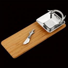 Arthur Court Designs Antler Bamboo Cheese Set